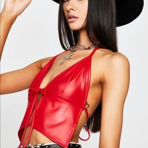 Brand new Dolls Kill red halter crop top